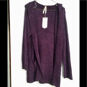 NWT Purple Long Hooded Cardigan